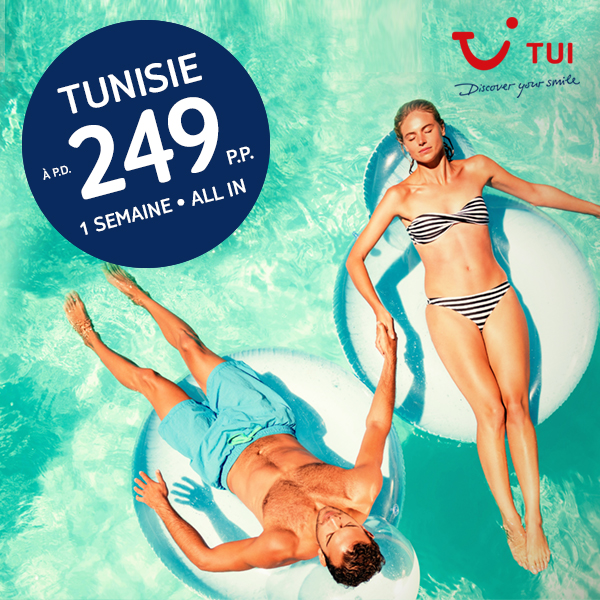 Valable pour les départs à partir du 31/03/2017   Retournez en Tunisie avec TUI à partir du 31 mars 2017. Réservez maintenant une semaine en all inclusive à partir de 249 ? p.p.!